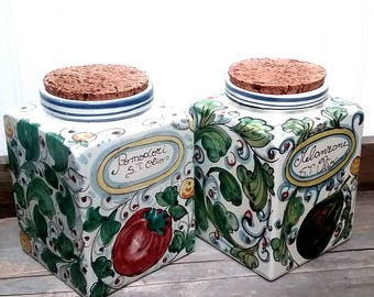 Made in Italy Beautiful hand painted Pair of Decorative Square Cannister with natural cork