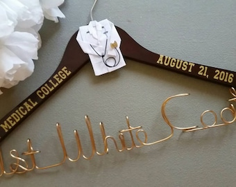 Personalized Doctor Hanger,New Graduate,1st White Coat Hanger,Doctor 1st White Coat Ceremony, Gift for Doctors
