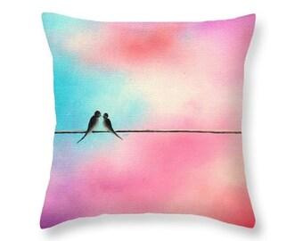 Love Birds Throw Pillow, Birds on a Wire Art Pillow, Pink Pastel Art Home Decor, Decorative Cushion, Soft Simple Living Room Accent Pillow
