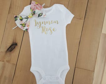 Custom Baby Onesie, Baby Onesie Announcement, Baby One Birthday Outfit, Baby Onesie Girl, Baby Onesie Aunt, Personalized Baby Gift, Onesie