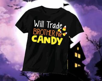 Halloween, Halloween kid shirt, trade sister for candy, trade brother for candy, Toddler shirt, Halloween themed, funny halloween shirts
