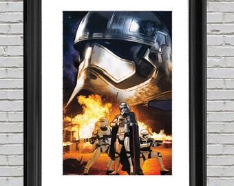 Star Wars The Force Awakens Art Print Poster 22x34, Wall Art, Dorm Room Poster, Starwars Art, Star Wars Art, Star Wars Poster, Star Wars