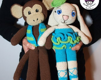 PRE-ORDER / custom made rabbit with tutu and monkey with vest amigurumi (hand-knitted crochet)