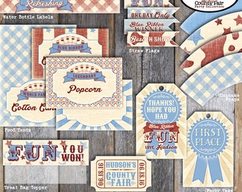 County Fair Food Tents | Country Fair Food Tents | County Fair Buffet Labels | Carnival Food Signs | County Fair Birthday Party | Printable