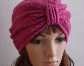 Fashion turban hat, knitted turban, winter turban, handmade turban hat for women, women's knitted hat, knitted from acrylic yarn