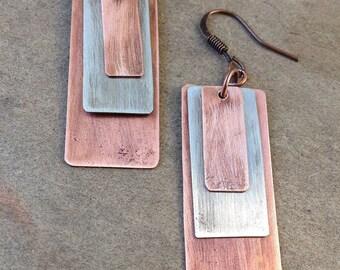 Mixed Metal Jewelry Copper Earrings Dangle Recycled Jewelry Geometric Earrings Mixed Metal Earrings Geometric Jewelry Unique Earrings
