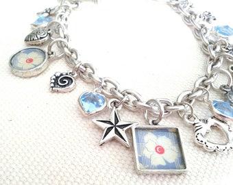 Pale blue vintage style floral charm bracelet