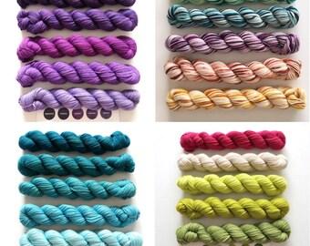 Sock Yarn Mini Skeins, Party of Five yarn by Sweetgeorgia Yarns, 4 colour sets to choose from, sock yarn, merino wool sock yarn, yarn
