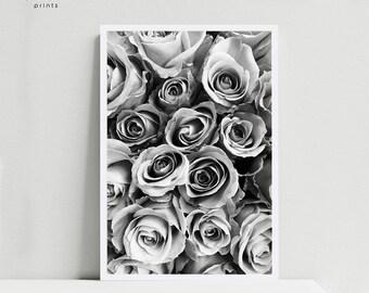 Black and white rose PRINTABLE, botanical print, rose bouquet art, rose wall art, flowers print, romantic print, floral print, romantic art