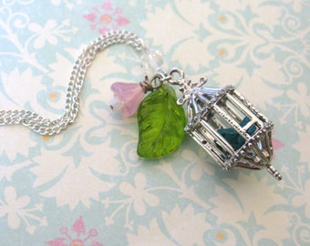 The Caged Bird Sings Silver Necklace