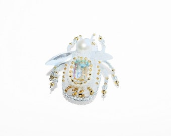Free shipping USA & Canada. Bead Embroidered Cicada Brooch with Freshwater Pearl, Czech Rhinestone. Gold White Insect Bug Beetle Cricket Pin