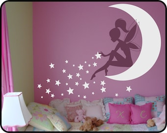 FAIRY Wall Decal, Fairy Sitting on Moon Sticker, Fairy with Pixie Dust Stars, Girls Room wall decal, Nursery wall decal, Tinkerbell decal