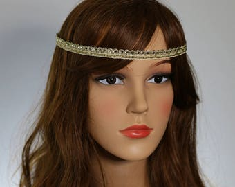 Gift for her,Wedding Headband,Lace Headband, Beaded Hiedpiece, Gold Headband,Gatsby Headpiece, Boho Heanband, Bridal Headpiece,Cristmas Gift