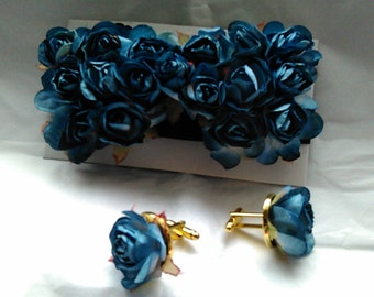 Easter, Kentucky Derby, Holiday, Bridal, Wedding Father's Day Prom Blue rosette embellished cuff link and bow tie set