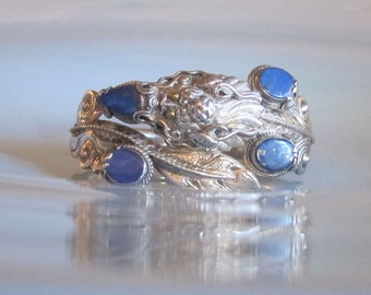 JUST REDUCED Chinese Vintage Silver Dragon Bracelet with Lapis Lazuli and 18K Gold Eyes