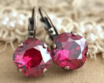 Pink Fuchsia Silver Drop earrings, Cherry Fuchsia Swarovski drop earrings, Silver Crystal Drop earrings, gift for woman, Pink Drop earrings