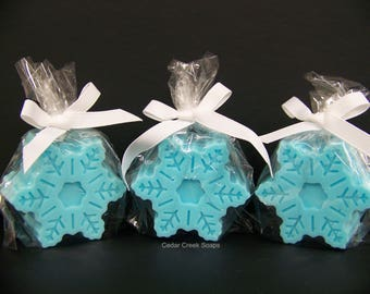 Frozen Blue Snowflake Soaps  Holiday Stocking Stuffer Co-worker Gift Pearberry Scented Soaps