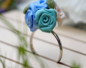 Blue Flowers ring
