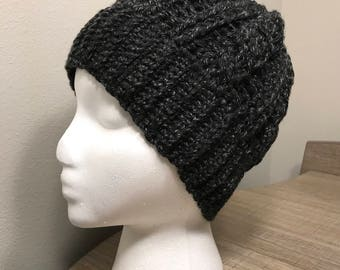 Cable Crochet Beanie Hat in Black and White