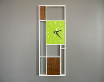 Mid Century Inspired Lime Green and Walnut Geometric Wall Clock