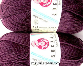 KNITTING WOOL//SOCKA 50//*(2x50gr.Balls) by-Stahal Wool for Socks/Collor Eggplant.//2 Balls Makes 1 pair Adult sock.//Was(20.00)Now!