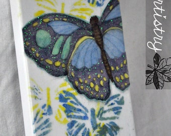 "Decorative Handmade iPhone 4/4s Hardshell Phone Case ""Mariposa"" Blue Butterfly Cardstock Handpainted Stamp Spring Design"