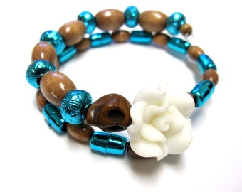 Day of The Dead Bracelet Sugar Skull Jewelry Wrap Around Cuff Blue Brown White Rose
