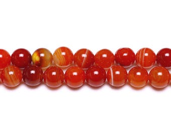 10 x beads 8mm dark red dyed natural Agate