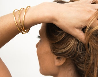 Stackable Gold Bracelets, Stackable Gold Bangles, Gold Bangles, Stacking Bangles Gold, Layering Bracelet, Bangle Set, Gift for Her