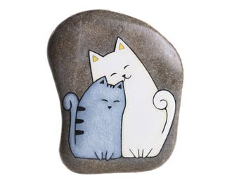 Hand-painted rock to hang with two cats