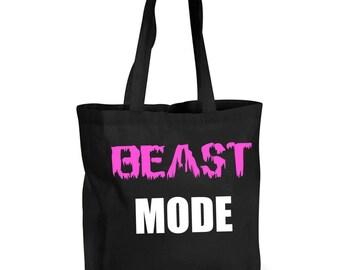 Beast Mode Training Bag Shopping Bag Reusable Black Shopper Gym Bag