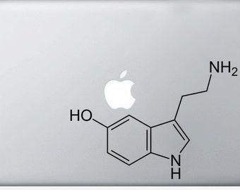 Serotonin Compound Molecule laptop DECALS- macbook iPad computer- chemical structure- vinyl sticker