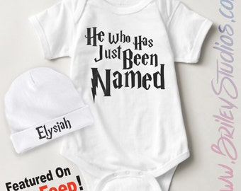 ORIGINAL He Who Has Just Been Named Newborn Baby One Piece Bodysuit, Personalized Baby Shower Gift, Coming Home Outfit, Infant Gender Reveal