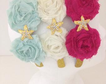 Starfish Flower Headband, Beach Wedding, Flower Girl Headband, Summer Hairbands,  Aqua Blue, Hot Pink,Ivory, Fancy Girl BoutiqueNYC