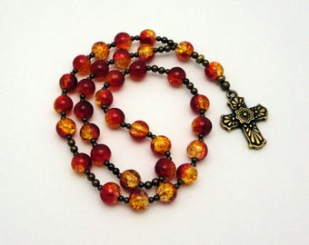 Anglican Prayer Beads / Protestant Prayer Beads / Anglican Rosary in Red / Gold Crackled Glass with Tierracast Pewter Talavera Cross