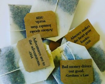 Box of 20 Individually Tagged Teabags with Proverbs Words and Phrases