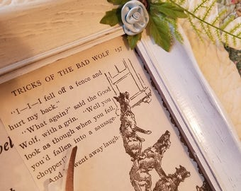 Story book Pages in vintage wood frame, The Adventures Of Mable