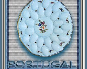 """Portuguese 24 Space Deviled Egg Platter 14"""""""