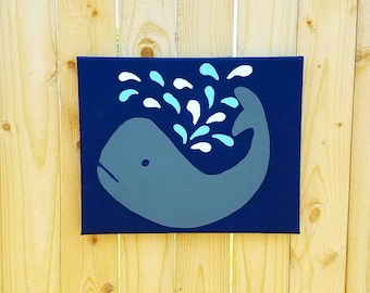 Whale Nursery Art, Whale painting, Ocean Nursery decor, Whale Wall art, Baby boy decor, Nautical nursery, Sea creature, 8x10 canvas art teal