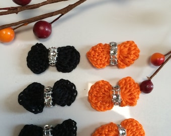 Crochet Halloween Bows, Black & Orange CrochetBows, Set of 6