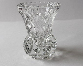 small vintage glass thistle shaped posy vase