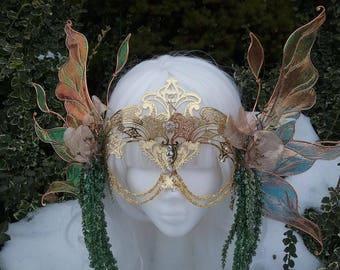 Masquerade mask, fairy mask, fairy headpiece, fairy costume, fairy headdress