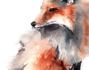 Fox fine art print, fox watercolor painting art, fox wall art print, woodland art print, watercolor print of fox