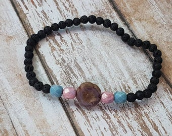 Delicate black lava and czech glass beads essential oil diffuser Bracelet