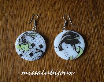 Japanese style polymer clay earrings earring fastener nickel