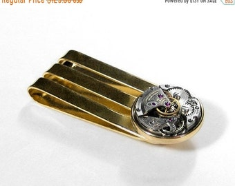 Steampunk Jewelry Mens Money Clip Vintage ART DECO Watch Movement Gold Money Clip Anniversary Fathers Day Groom Gift - Jewelry by edmdesigns