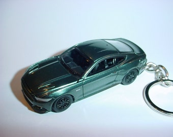 D  Ford Mustang Gt Custom Keychain By Brian Thornton Keyring Key Chain Green Finish Opening Hood Design