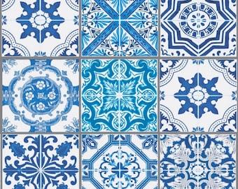 Fabric azulejos Plaid blue white Lisbon, portugal fabric, 1/2 meter
