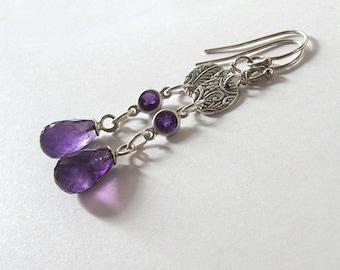 Purple Amethyst Gemstone Drop Earrings, Fine Silver Floral Scroll Design, February Birthstone, Sterling Silver Ear Wire Options