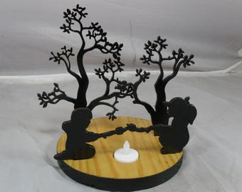 3D Boy Girl Roasting Marshmallows by Trees